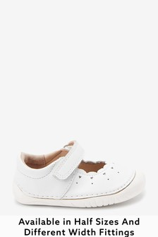 White Leather Standard Fit (F) Crawler Mary Jane Shoes