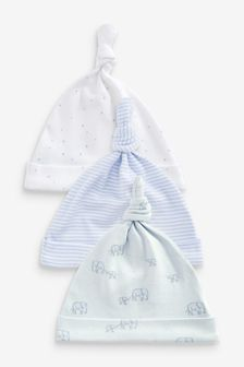 Blue 3 Pack GOTS Organic Delicate Elephant Tie Top Hats (0-18mths)