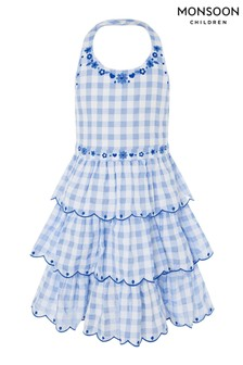 Monsoon Blue Gingham Halter Embroidered Dress