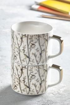 Set of 2 Bird Chinoiserie Stacking Mugs