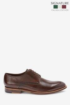 Brown Signature Leather Plain Derby Shoes