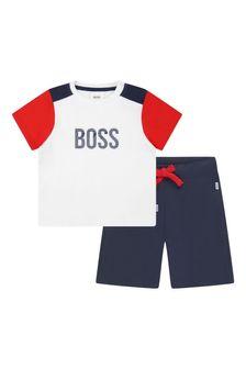 Boss Kidswear BOSS Baby Boys White Cotton T-Shirt And Shorts Set