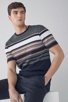 Tan/Navy Stripe Soft Touch Regular Fit T-Shirt