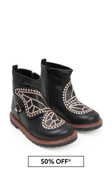 Girls Black Leather Karina Boots