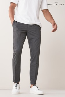 Grey Check Skinny Fit Trousers With Motionflex Waistband