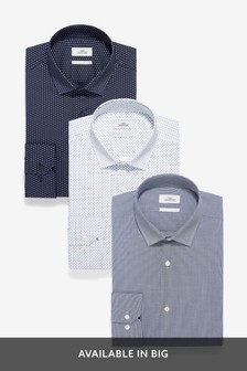 Blue Regular Fit Single Cuff Textured And Print Shirts Three Pack