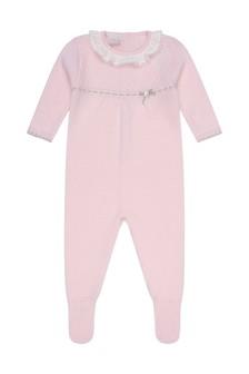 Girls Pink Wool Knitted Babygrow