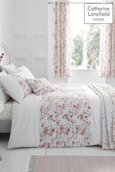 Catherine Lansfield White Jasmine Floral Duvet Cover and Pillowcase Set