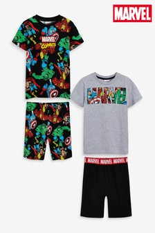 Black/Grey Marvel® 2 Pack Short Pyjamas (3-14yrs)