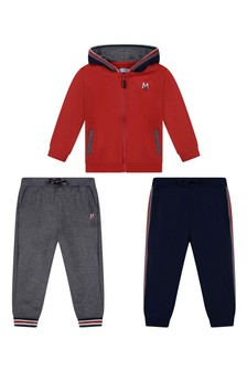 Baby Boys Red/Navy Tracksuit Set