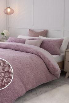Mauve Purple Borg Fleece Duvet Cover and Pillowcase Set