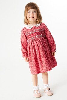 Red Ditsy Shirred Cotton Dress (3mths-7yrs)