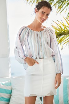 Pink/Blue Sparkle Stripe Button Front Blouse