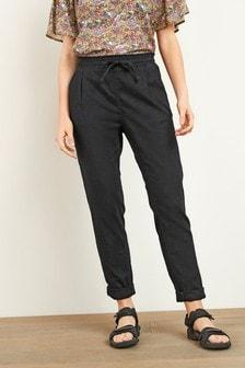 Black Linen Blend Taper Trousers