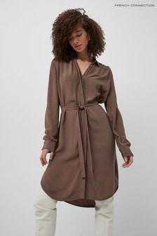 French Connection Brown Clua Drape Shirt Dress