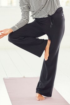 Black Roll Top Wide Leg Trousers