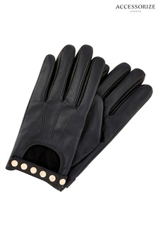 Accessorize Black Studded Driving Gloves