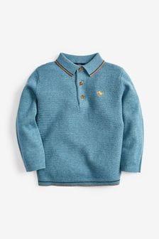 Blue Textured Knitted Poloshirt (3mths-7yrs)