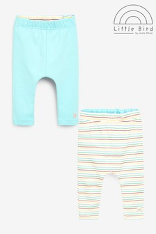 Little Bird Stripe/Plain Organic Cotton Leggings Two Pack