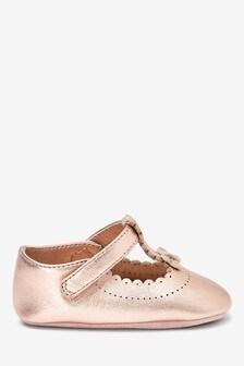 Rose Gold Leather T-Bar Pram Shoes (0-18mths)