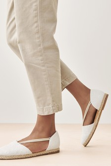 White Closed Toe Espadrille Shoes
