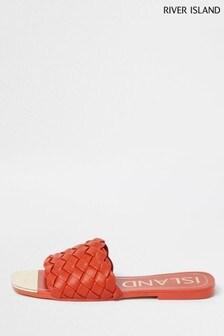 River Island Orange Woven Vamp Flat Sandals