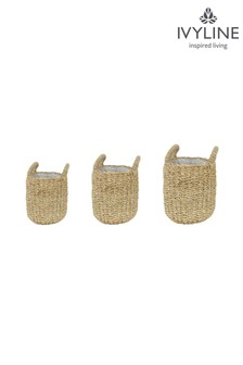 Set of 3 Luosto Seagrass Lined Baskets by Ivyline