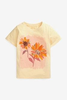 Ecru Sequin Flower T-Shirt (3-16yrs)