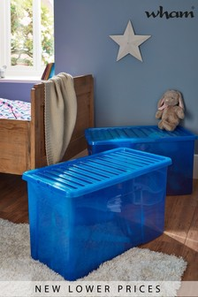 Set of 2 Wham Crystal 110L Plastic Storage Box & Lid