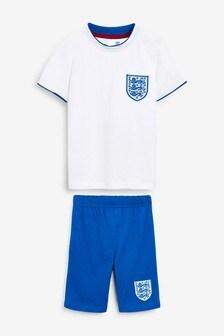 White/Blue England Football Short Pyjamas (3-16yrs)