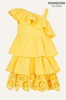 Monsoon Yellow Layered Frill Broderie Dress