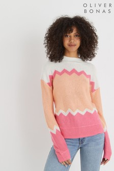 Oliver Bonas Orange Zig Zag Colourblock Knitted Jumper