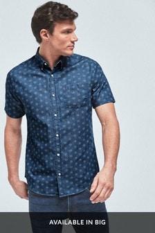 Indigo Regular Fit Textured Cross Linen Blend Shirt