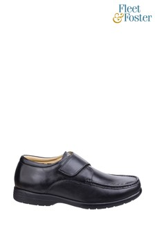Fleet & Foster Black Fred Dual Fit Moccasins