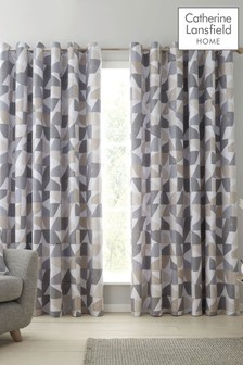 Catherine Lansfield Natural Oslo Geo Eyelet Curtains