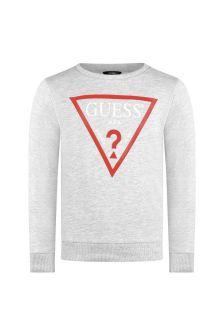 Boys Grey Cotton Logo Sweater