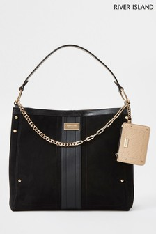 River Island Black Chain Pouch Slouch Bag