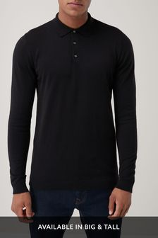 Black Knitted Poloshirt