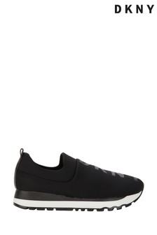 DKNY Black Jaydn Glitter Logo Slip On Trainers
