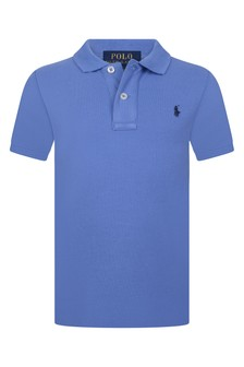 Boys Blue Cotton Polo Top