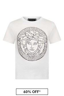 Versace Girls White Cotton Studded Logo T-Shirt