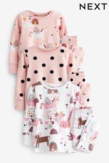 Pink/Cream Unicorn 3 Pack Pyjamas (9mths-16yrs)