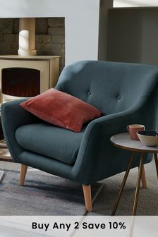 Soft Marl Petrol Blue Lacey  Armchair With Light Legs