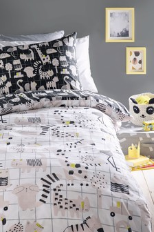 Mono Pop Animals Reversible Duvet Cover and Pillowcase Set