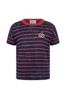 Girls Navy Linen Striped T-Shirt