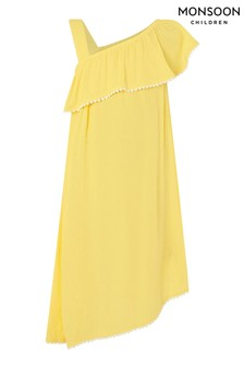 Monsoon Yellow One-Shoulder Frill Dress