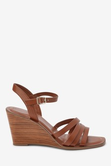 Tan Strappy Wood Heel Wedges