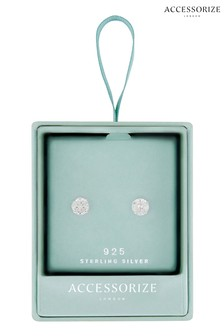 Accessorize Sterling Silver Solitaire Earrings