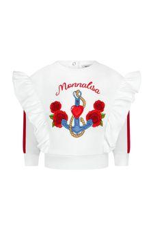 Monnalisa Baby Girls White Cotton Sweat Top