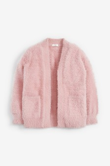 Pink Fluffy Long Cardigan (3-16yrs)